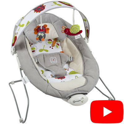 BabyGo Babywippe Baby Wippe Vibration Babywiege Bouncer Schaukelwippe COZY Grau
