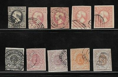Quantity Of Early Luxembourg Stamps - 1852 - 1859 - Sg 2-39 Used Imperf.