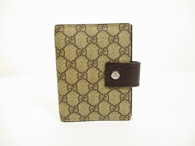 c7fcb720e122 Authentic GUCCI GG Plus PVC and Leather Brown Document Holders Agenda  6219