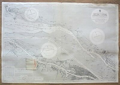 Scotland River Clyde Dumbarton To Glasgow Vintage Admiralty Chart Map 1914 Edn.