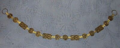 Antique Victorian Aesthetic Period Brass Medallion Equestrian Horse Chain, 27 In