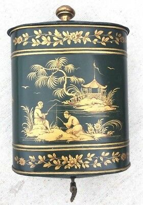 Vintage Lavabo Asian Tole Green Gold Wall Chinoiserie Metal Italy Flower Pot