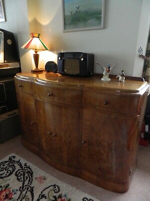 Beautiful Antique Art Deco Walnut English Sideboard Bow Fronted & lined with oak