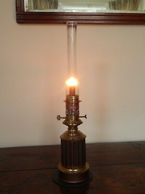 Rare Tin Plate & Brass Moderator Oil Lamp c.1850 - Complete and working