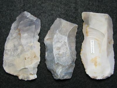 7000Y.o: 3 Knives Knife Danish Stone Age Mesolithic Flint Kitchen Midden Culture