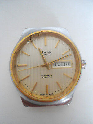 NICE VINTAGE 1960s SWISS MADE AVIA MATIC INCABLOC 25 JEWELS WORKING TICKING