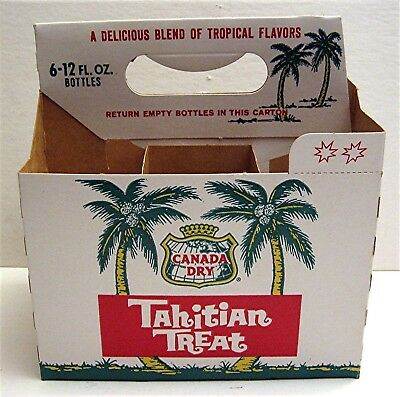 Canada Dry Tahitian Treat 6 Pack Soda Bottle Carton Carrier Old Store Stock