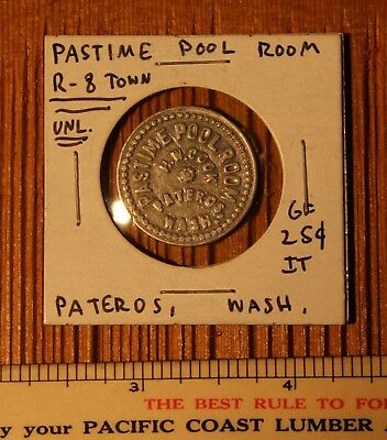 PASTIME POOL ROOM - PATEROS, WASHINGTON - 25c In Trade Token