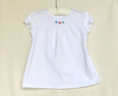 Hanna Andersson White Embroidered Short Sleeve Tee Size 90 (3T)
