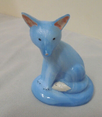 "Fox, Blue milk Glass Or Slag Glass, Hand Painted, 2.5x2"" Base, 3"" Tall Vintage"