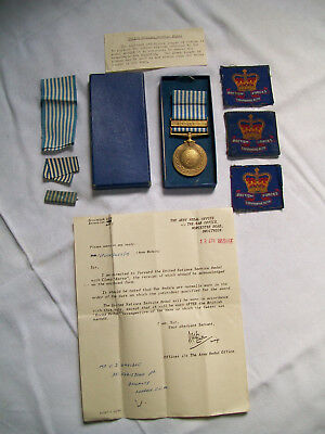 Original British Issue, UN Korea Medal, Box, Ribbons, Paperwork, Patches.