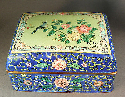 Vtg Chinese Canton Floral Enamel Hinged Jewelry/trinket Box W/blue Bird