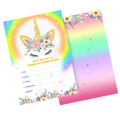 10 unicorn birthday party invitations rainbow pastel magical