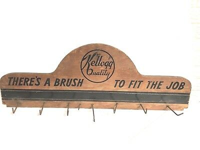 """Vintage Wooden Sign Store Display """"Kellogg Quality"""" Brushes Country Store"""