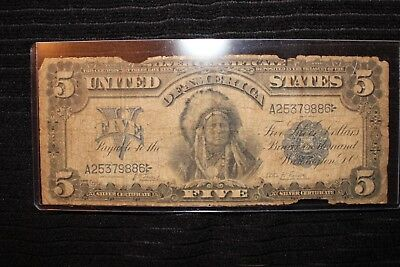 1899 Indian Chief $5 Silver Certificate ~ Fr 271 Lyons/roberts ~ Good Starter