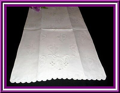 Gorgeous Vintage Huck Linen Damask Towel With Embroidery & Monogram