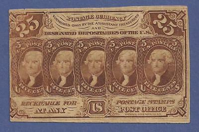 1862-1863 1st Issue 25¢ Fractional Currency Fr 1281,Jefferson Bust,VF,Nice!