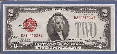 1928 D $2 United States Note (USN),Large Red Seal,circulated CH Crisp XF,Nice!