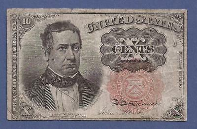 1874-1876 5th Issue 10¢ Fractional Currency,FR 1265,Meredith,circulated F,Nice!