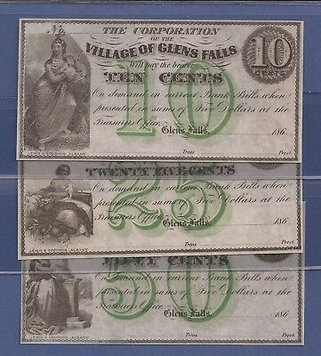 1860's Obsolete 10,25,50¢ (3) Notes,The Village of Glens Falls,NY,UNC,Nice!