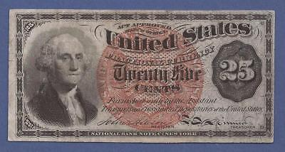1874-1876 5th Issue 25¢ Fractional Currency,FR. 1307,Washington Bust,VF,Nice!
