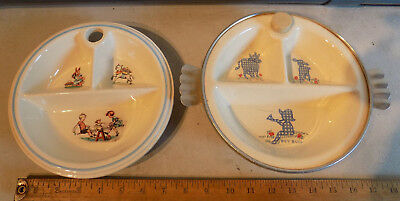 Rare Vintage Lot Of 2 Excello Boy Blue Childs Divided Warming Dishes Seesaw *nr*