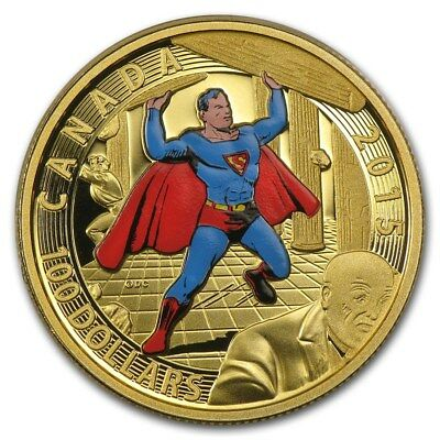 2015 Royal Canadian Mint $100 14K Gold Superman #4 Cover Commemorative Coin