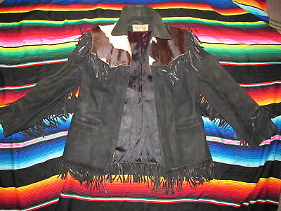50's Black Leather Suede Ladies Fringe Jacket Herman Friedrick NY Hippie Women's
