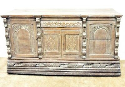 Antique Gothic Style Hand Carved Sideboard Credenza