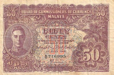 MALAYA UNDER BRITISH RULE 50 CENTS 01/07/1941 (1945) PICK:#10a VERY FINE