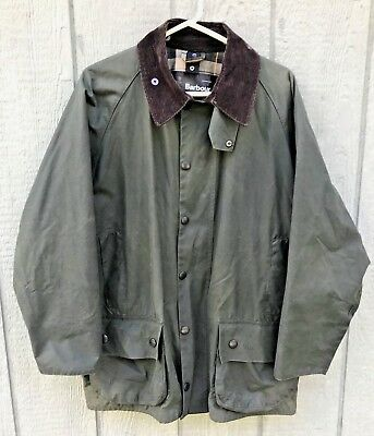 Men's BARBOUR Beaufort Olive Green Waxed Cotton Jacket Size 42 Made In England