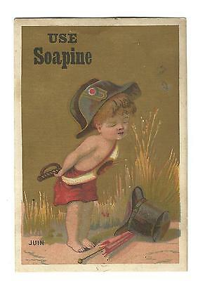 Old Trade Card SOAPINE Kendall Mfg Co Providence RI Boy Military Hat JUIN