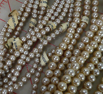 """50 strands 11"""" 7mm 5mm vintage glass pearl beads Japan ivory simulated pearls"""