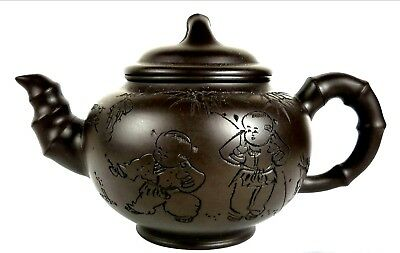 Vintage Small CLAY CHINESE TEAPOT SIGNED Incised KIDS/Fireworks Poetry Handled