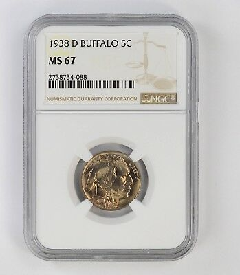 MS67 1938-D Buffalo Indian Nickel - NGC Graded *6718