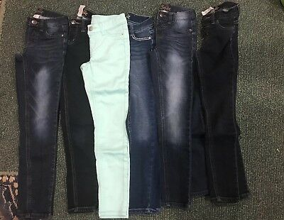 LOT of GIRLS JUSTICE SKINNY JEANS SIZE 8 SLIM 5 pair Blue Jeans 1 Mint Green