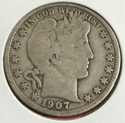 1907D US Barber SILVER Half Dollar! Very Good! Old US Coins!
