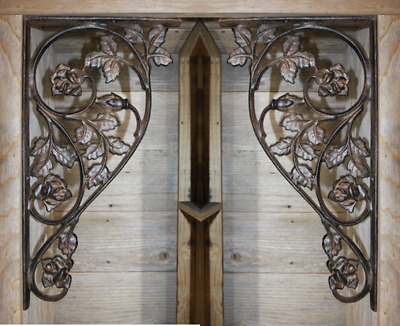 "(2) Large Rose Design Corbels Heavy Duty Solid Cast Iron,16 7/8"", B-20"