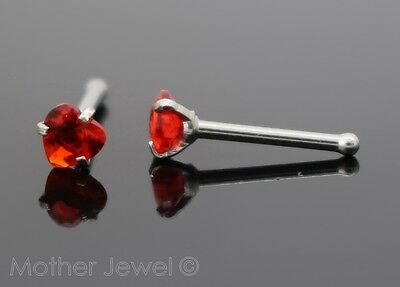 Love Heart 3Mm Ruby Red Cz 20G Surgical Steel Mens Womens Nose Stud Bone Pin