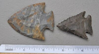 (2) Arrowhead point flint napping Native American Indian Relic souviner lot j104