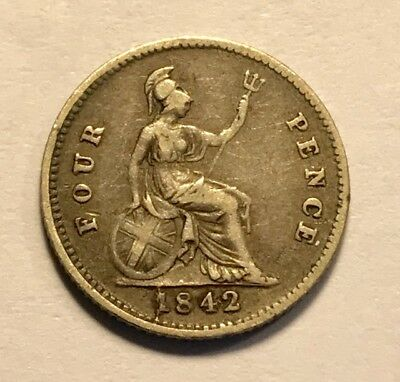 GREAT BRITAIN - Queen Victoria - Groat - 4 Pence - 1842 - KM-731.1 - Silver Coin