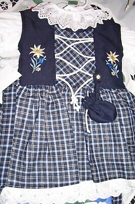 NEW! Girls,Kids SZ ~ 8,German,Trachten,Oktoberfest,Dirndl Dress,2-pc.Dark Blue
