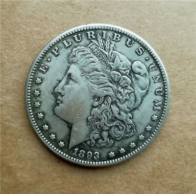 1pc Collection Coin 1893s Antique Silver Plated Coin 28g, Dia. 1.46inches Copper