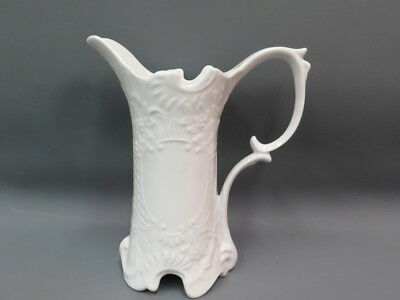 Antique 1800's White Ironstone Porcelain Pitcher Scrolled Cartouches RARE