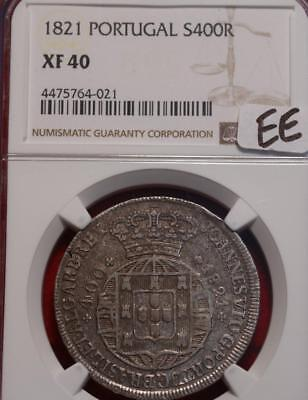 1821 Portugal 400 Reis Silver Coin NGC Graded XF 40