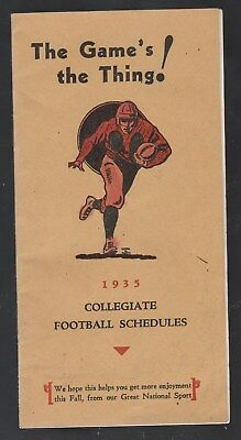 The Game's The Thing-1935 College Football Schedules-Salesman Sample-Omaha--G/vg