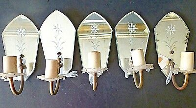 Antique Lighting Part LOT: 5 mirrored/beveled Light Sconces Salvage Repair Parts