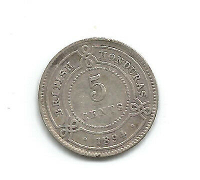 British Honduras 5 Cents Silver 1894