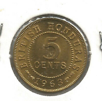 British Honduras 5 Cents 1963 Choice BU