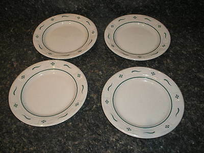 """LONGABERGER Pottery Woven Traditions 7 1/4"""" BREAD & BUTTER PLATES Heritage Green"""